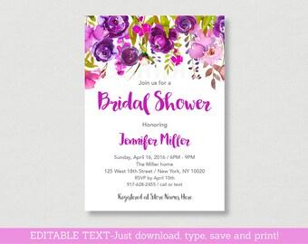 Purple Floral Bridal Shower Invitation / Floral Bridal Shower Invite / Watercolor Floral Invite / Editable PDF INSTANT DOWNLOAD B106