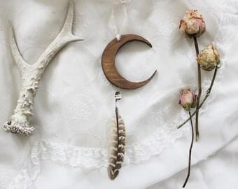 Séléné . Wild Spirit . wood crescent moon, Swarovski, smoky quartz and pheasant feather decoration pagan witchcraft boho magic .
