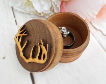 Antler Ring Box | Country Wedding | Camo Wedding | Buck and Doe Wedding Decor | Rustic Wood Ring Box | Free Shipping