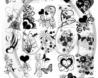 Sepia Decals for Fused Glass - Hearts and Flowers
