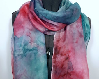 Pink and Turquoise Scarf ~ Mulberry Accessories, Girls Summer Accessories, Mother of the bride Scarf, Mothers Day Gifts, Unique Gift for Mom