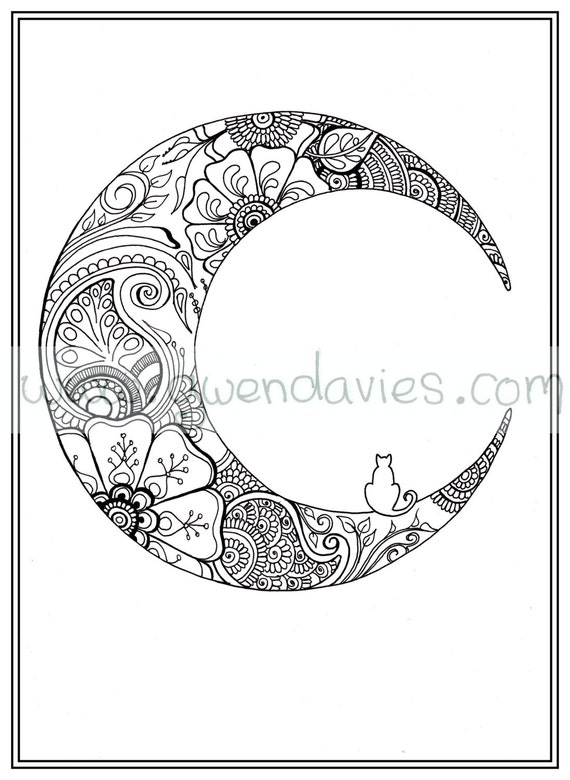 Adult colouring in pdf download moon cat calming mindfulness