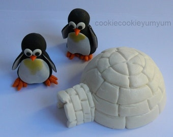 1 edible 3D IGLOO & 2 3D Penguins winter pingu iceberg cake decoration topper gumpaste sugarcraft birthday wedding anniversary engagement