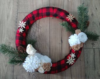 Winter Country Christmas Front Door Wreath Entryway Home Decor Plaid Flannel Nature Pine Birds Snowflakes Felt Flowers