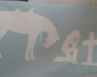 Cowgirl Kneeling with Horse Vinyl Graphic Decal
