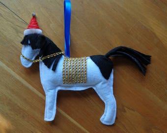 Hand made black and white felt horse, Pony Christmas hanging decoration