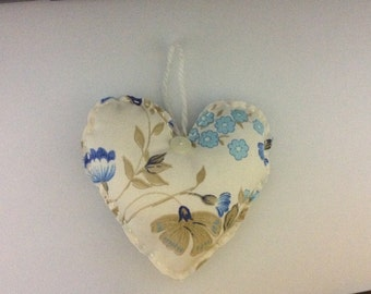Shabby Vintage Sheet Fabric Hanging Doorknob Heart Ornie Ornament Decoration Cream Gold Blue