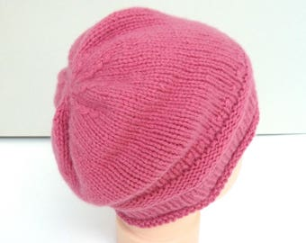 100% cashmere baby hat, girls hand knitted beanie, knit baby hat, pink slouchy beanie, knitted baby clothes for girls, size 6 - 12 months