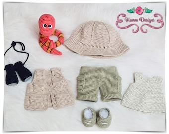 Crochet Pattern - Tommy's Safari Costume (JUST CLOTHES)