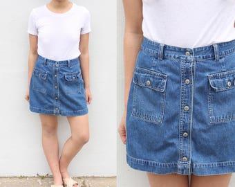 Minimalist Denim Button Up Skirt