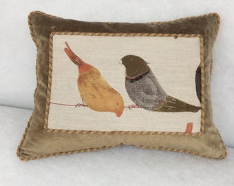 Accent Pillow  21 x 15, Bird Print, Decorative Cording, Zippered WITH Poly Fill