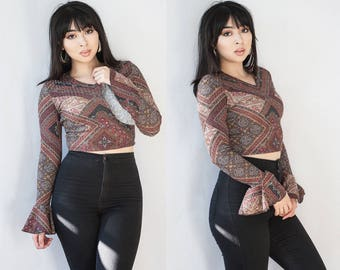 Ribbed Geometric V Neck Crop Top Bell Sleeves SMALL