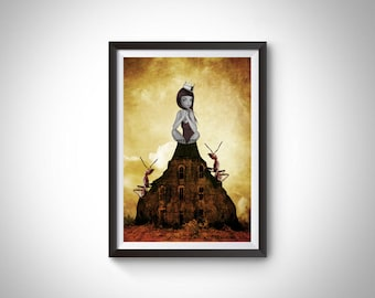 Pop surrealism print   Big eye girl and ants   Surrealism wall art   Home decor   A3 Print