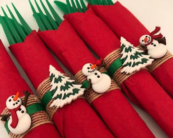 Holiday Flatware with Christmas Napkin Ring, Disposable Christmas Flatware, Holiday Party Tableware
