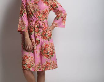 SALE Pink Bridesmaid robes, bridesmaids robes, set of robes, floral bridesmaids robes, cotton kimono robes, bridesmaids gifts, bride