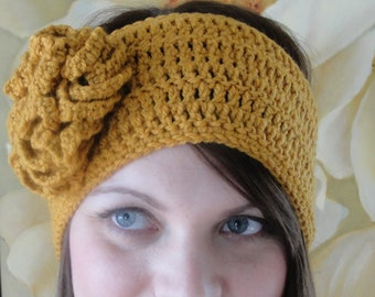 CROCHET PATTERN Headband Women pdf Hat with Flower The ANGELA