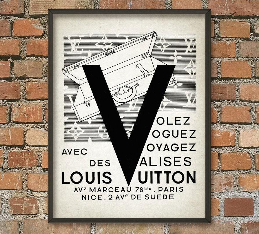 Louis Vuitton Vintage Suitcase Ad Wall Art Print Antique