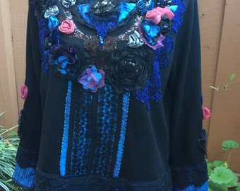 Midnight blue -Art to wear Altered Couture Bohemian Romantic  Top Blause Handcrafte  One size M, L, XL