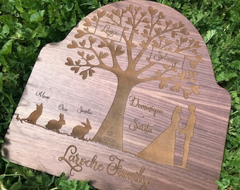 Growing Love Family Tree Wood Plaque- Personalize It!