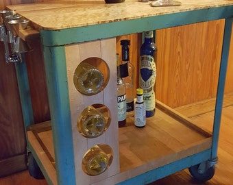 The DeLuxe Industrial Chic Maple Bar Cart Beverage Cart