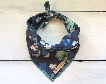 Navy Blue Floral Chambray Dog Bandana