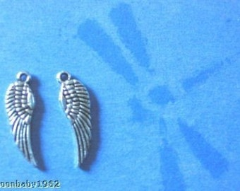 Angel Wings small 12 wings per lot Feather Wings 17mm Silver Tone