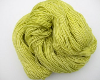 """Sparkle Hand dyed Superwash Merino sock weight Wool, Nylon, Indie dyer, """"Lettuce"""", green, lime"""