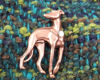 Elegant Copper Greyhound Scatter Pin with Crystal Accent
