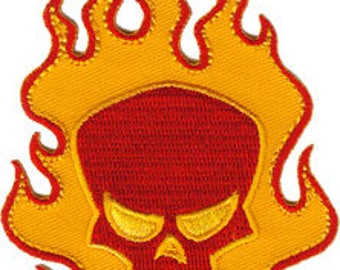 FLAME SKULL, Officially Licensed, Iron-On / Sew-On, Embroidered PATCH
