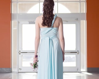 Baby Blue Long Convertible Dress / Custom size, length / Plus size & maternity included