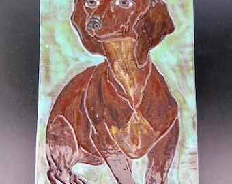Ceramic Tile Dachshund Dog Mid Century Ceramic Tile Monogrammed Artistic Ceramic Tile