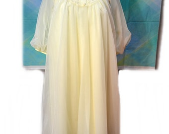 Chiffon Nightgown Robe Set Shadowline Buttercream Yellow