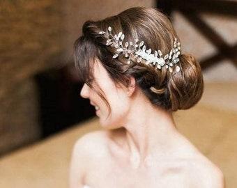 Bridal Hair Comb with Swarovski, Wedding Headpiece, Crystal Hair Comb, Silver Wedding Comb, Bridal Hairpiece, Crystals Bridal Headpiece