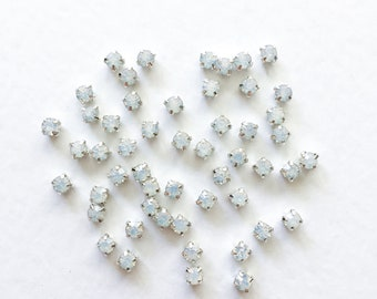 50 x 4mm Opal Sew On Rhinestone in Silver White Opal Montees White Opal Chatons