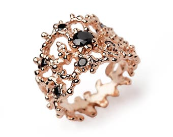 CORAL Black Gemstone Ring, Rose Gold Ring Band, Wide Gold Ring, Black Stone Ring, Black Stone Gold Ring, Anniversary Gift, Mothers Day Gift
