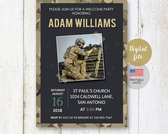 US Marines Welcome Home Hero Party Invitation for son husband dad daddy best brother friend | or Military Retirement invite DIGITAL file!