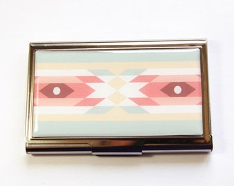 Business Card Case, Card case, business card holder, Cute card case, southwestern, Tribal Pattern, Western Print, Pastel Colors (2972)