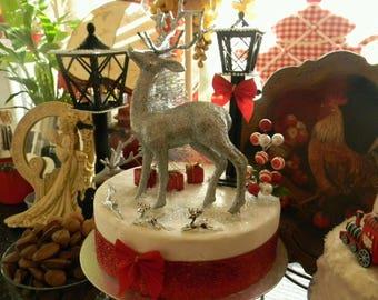 Stunning Ooak Faux/Fake Lrg Sparkle Deer Cake
