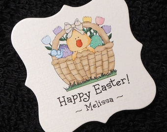 Personalized Easter Gift Tags, Candy Tags, Chick in Easter basket with tulips, set of 20