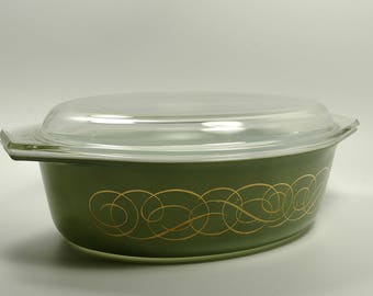 Vintage Mid Century Pyrex Casserole Dish Promotional Cinderella Style  Green Scrolled