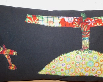 Angel Of The North Long Black Canvas Handmade Quirky PatchworkComplete Bespoke Cushion Pillow