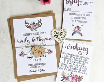 Antler Floral Wedding Invitation Set  | Rustic Invitation, Custom Invitation Suite, Wedding Invitations, Arrow Invitation, Deer Invitation