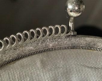 1960s Vintage Silver Metallic Bridal Bag  / 1960s Metallic Bridal Clutch / Vintage Bridal Clutch / 1960s