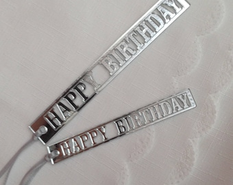 Happy Birthday Silver Mirror Gift Tag