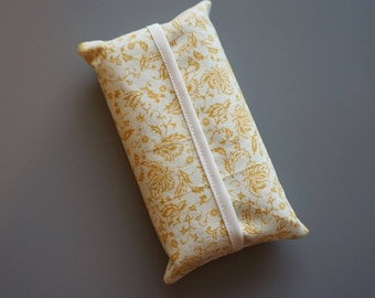 Tissue Holder - Mustard Yellow Gold Floral