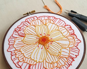 Modern Hand Embroidery Pattern | cozyblue Embroidery Kit - Iron On Embroidery Pattern - Flower Embroidery Pattern - MERRY GOLD