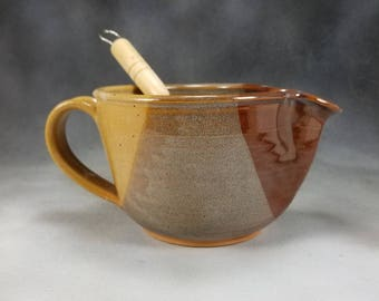 Small Batter Bowl Desert Yellow Small Ceramic Batter Bowl With Whisk Hand Thrown Pottery Bowl 2