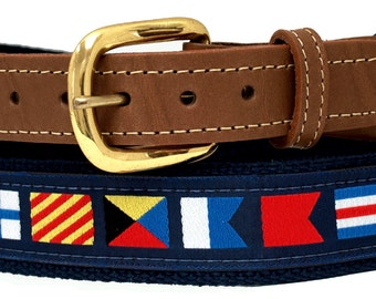 Nautical Code Flag, on Navy Webbing, Leather Tip Belt