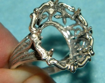16x12 oval Filigree ring casting SIZE 6.5  ...Add your own Gemstone