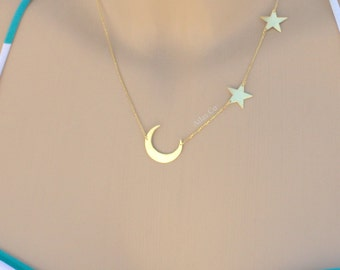 Receive in 3 days, Moon and Star Necklace,Crescent and Star,Gold moon,Silver moon,Rose moon,